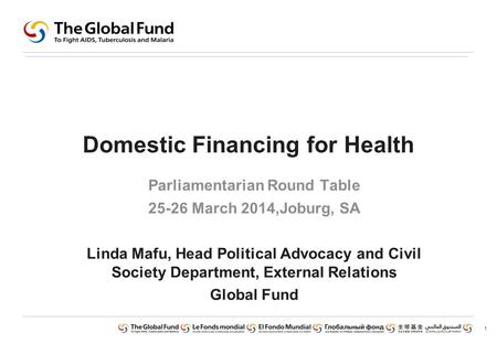 1 Domestic Financing for Health Parliamentarian Round Table 25-26 March 2014,Joburg, SA Linda Mafu, Head Political Advocacy and Civil Society Department,