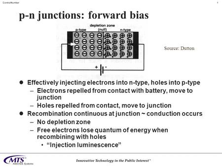 1ControlNumber p-n junctions: forward bias Effectively injecting electrons into n-type, holes into p-type –Electrons repelled from contact with battery,
