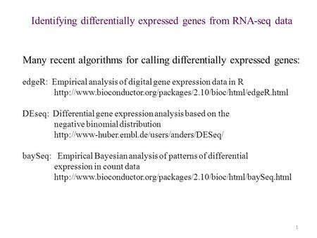 1 Identifying differentially expressed genes from RNA-seq data Many recent algorithms for calling differentially expressed genes: edgeR: Empirical analysis.