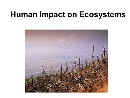 Human Impact on Ecosystems.  Pollution is any undesirable factor added to the air, water, or soil.  Smog is one type of air pollution. ◦ sunlight interacts.