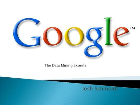 "Josh Schmoldt The Data Mining Experts. My project is an investigation of data mining and Google. Hal Niedzviecki's book ""The Peep Diaries: How We're Learning."