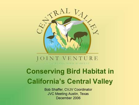 Conserving Bird Habitat in California's Central Valley Bob Shaffer, CVJV Coordinator JVC Meeting Austin, Texas December 2006.