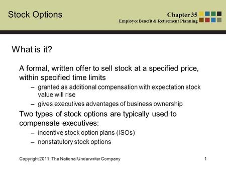 Stock options as employee benefits
