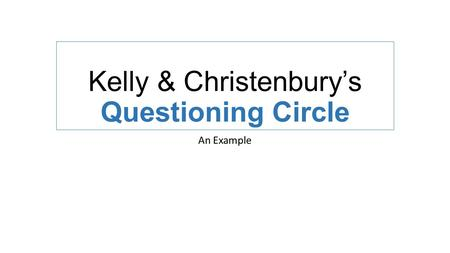 Kelly & Christenbury's Questioning Circle An Example.