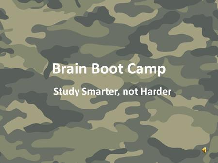 Brain Boot Camp Study Smarter, not Harder. Broca's Area Test A big black bug bit a big black bear, made the big black bear bleed blood.
