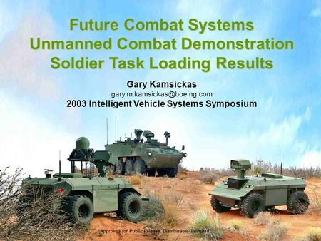 Future Combat Systems Unmanned Combat Demonstration Soldier Task Loading Results Gary Kamsickas 2003 Intelligent Vehicle Systems.