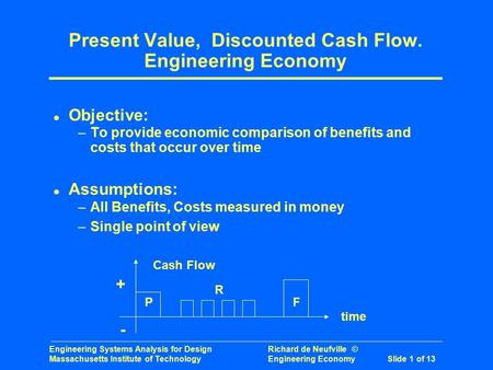 Engineering Systems Analysis for Design Richard de Neufville © Massachusetts Institute of Technology Engineering Economy Slide 1 of 13 Present Value, Discounted.