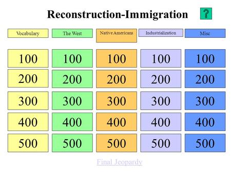 Reconstruction-Immigration 100 200 300 400 500 100 200 300 400 500 100 200 300 400 500 100 200 300 400 500 100 200 300 400 500 VocabularyThe West Native.