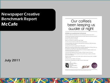 Newspaper Creative Benchmark Report McCafe July 2011.