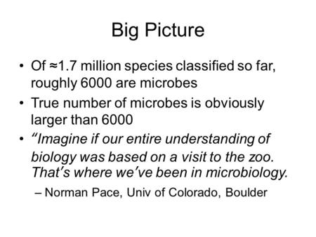 "Big Picture Of ≈1.7 million species classified so far, roughly 6000 are microbes True number of microbes is obviously larger than 6000 ""Imagine if our."