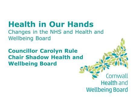 Health in Our Hands Changes in the NHS and Health and Wellbeing Board Councillor Carolyn Rule Chair Shadow Health and Wellbeing Board.