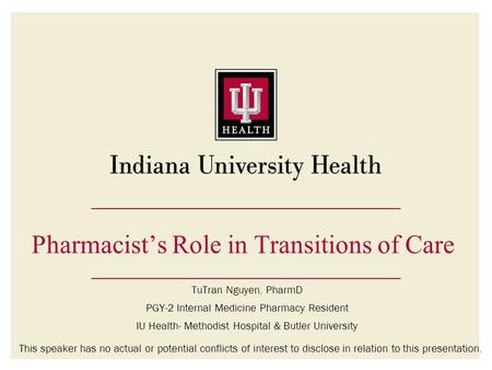 Pharmacist's Role in Transitions of Care
