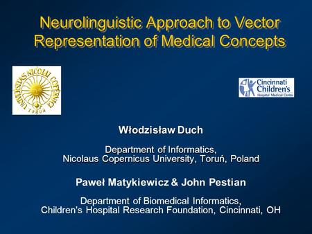 Neurolinguistic Approach to Vector Representation of Medical Concepts