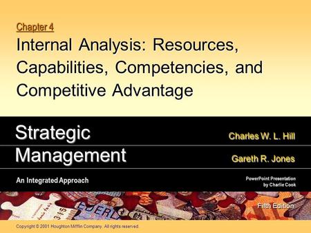 Copyright © 2001 Houghton Mifflin Company. All rights reserved. Chapter 4 Internal Analysis: Resources, Capabilities, Competencies, and Competitive Advantage.