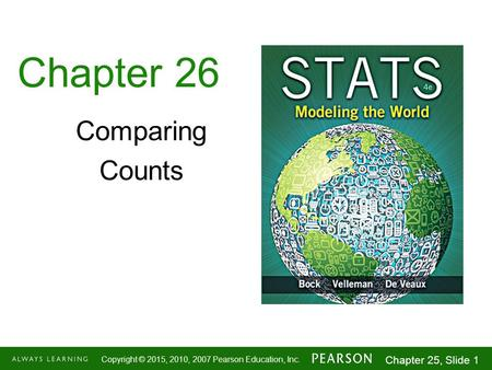 1-1 Copyright © 2015, 2010, 2007 Pearson Education, Inc. Chapter 25, Slide 1 Chapter 26 Comparing Counts.