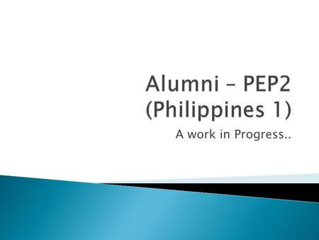 A work in Progress...  Bad News / Good News  An Alumni Framework – 4 options  Fish Forever – Rare's direction in Philippines  Phils 2.
