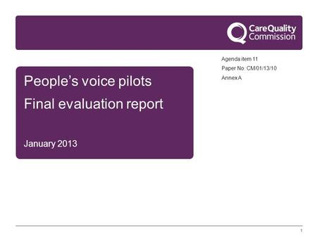 1 People's voice pilots Final evaluation report January 2013 Agenda item 11 Paper No: CM/01/13/10 Annex A.