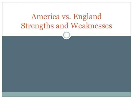 America vs. England Strengths and Weaknesses. America (Colonies)- Strengths 1. Great Commander-in- Chief: George Washington 2. Location: fighting on familiar.