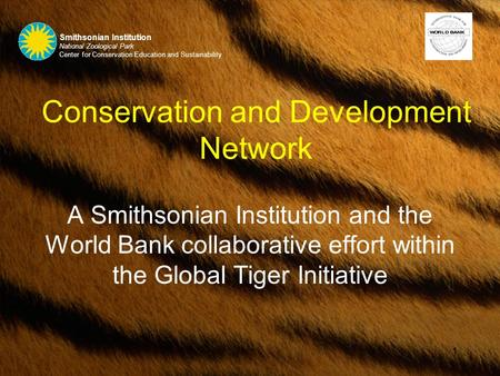 1 Conservation and Development Network A Smithsonian Institution and the World Bank collaborative effort within the Global Tiger Initiative Smithsonian.
