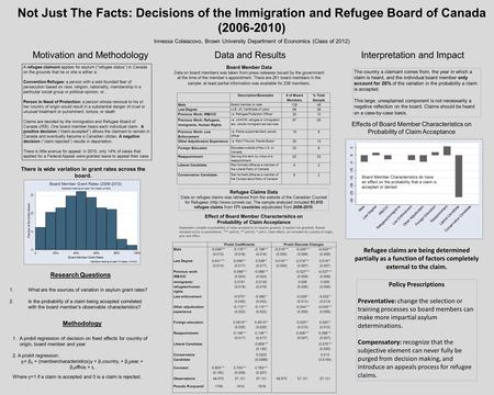 Not Just The Facts: Decisions of the Immigration and Refugee Board of Canada (2006-2010) Motivation and MethodologyData and ResultsInterpretation and Impact.