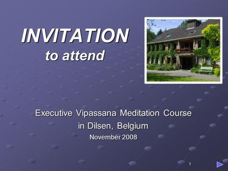 1 INVITATION to attend Executive Vipassana Meditation Course in Dilsen, Belgium November 2008.