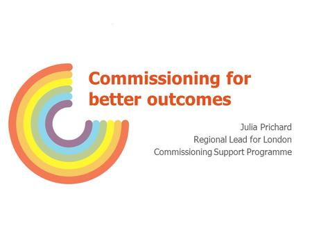 Commissioning for better outcomes Julia Prichard Regional Lead for London Commissioning Support Programme.