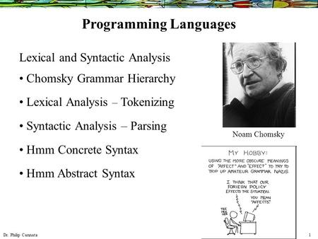 Dr. Philip Cannata 1 Lexical and Syntactic Analysis Chomsky Grammar Hierarchy Lexical Analysis – Tokenizing Syntactic Analysis – Parsing Hmm Concrete Syntax.