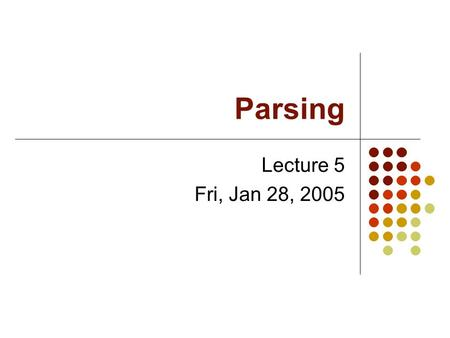 Parsing Lecture 5 Fri, Jan 28, 2005. Syntax Analysis The syntax of a language is described by a context-free grammar. Each grammar rule has the form A.