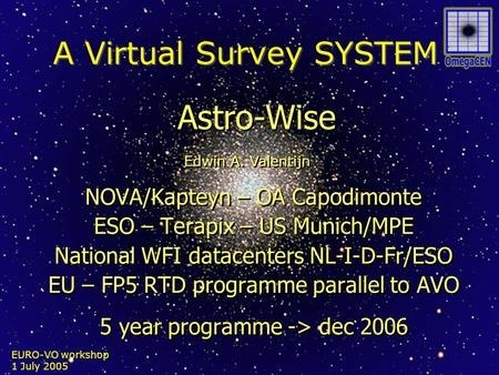 EURO-VO workshop 1 July 2005 A Virtual Survey SYSTEM Astro-Wise NOVA/Kapteyn – OA Capodimonte ESO – Terapix – US Munich/MPE National WFI datacenters NL-I-D-Fr/ESO.