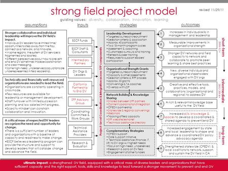 Strong field project [URL]| 1 strong field project model strategies outcomes DV Orgs & Leaders Intermediary Partners Technical Assistance Providers BSCF.