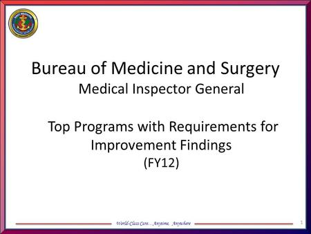 World-Class Care…Anytime, Anywhere Bureau of Medicine and Surgery Medical Inspector General Top Programs with Requirements for Improvement Findings (FY12)