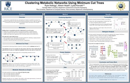 Clustering Metabolic Networks Using Minimum Cut Trees Ryan Kellogg 1, Allison Heath 2, Lydia Kavraki 2,3 1 Carnegie Mellon University, Department of Electrical.