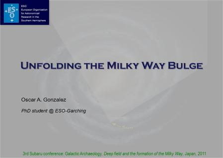 Oscar A. Gonzalez PhD ESO-Garching 3rd Subaru conference: Galactic Archaeology, Deep field and the formation of the Milky Way, Japan, 2011.