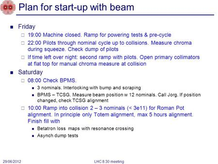 Plan for start-up with beam Friday  19:00 Machine closed. Ramp for powering tests & pre-cycle  22:00 Pilots through nominal cycle up to collisions. Measure.
