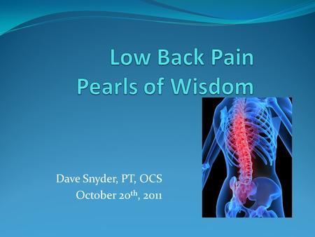 Dave Snyder, PT, OCS October 20 th, 2011. Popular Questions….. What can I do to help my patients with back pain get better faster? Is there an exercise.