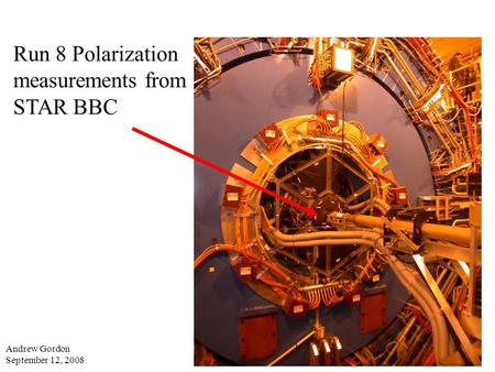 Run 8 Polarization measurements from STAR BBC Andrew Gordon September 12, 2008.