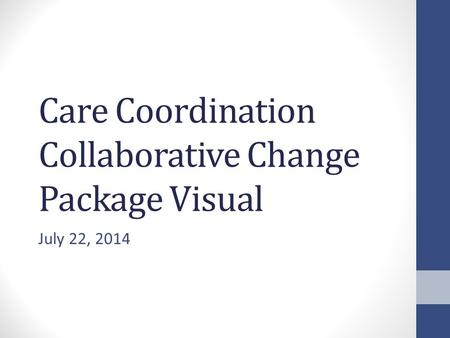 Care Coordination Collaborative Change Package Visual July 22, 2014.