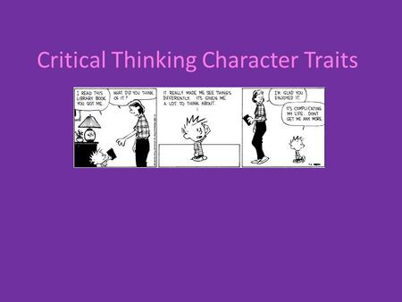 Critical Thinking Character Traits