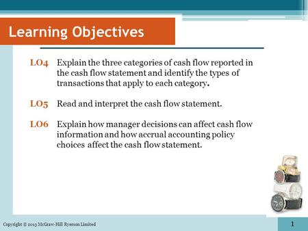 1 Copyright © 2013 McGraw-Hill Ryerson Limited Learning Objectives LO4Explain the three categories of cash flow reported in the cash flow statement and.
