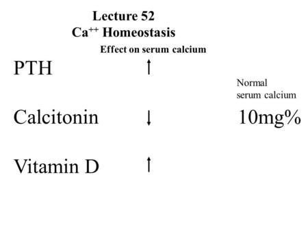 Lecture 52 Ca ++ Homeostasis PTH Calcitonin 10mg% Vitamin D Normal serum calcium Effect on serum calcium.