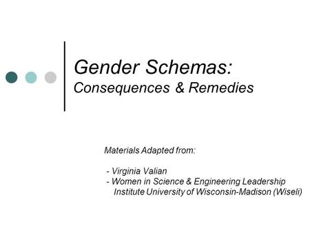 Gender Schemas: Consequences & Remedies Materials Adapted from: - Virginia Valian - Women in Science & Engineering Leadership Institute University of Wisconsin-Madison.
