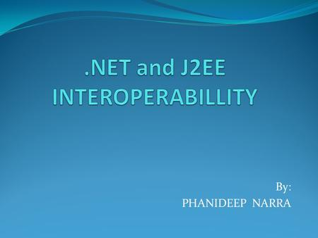 By: PHANIDEEP NARRA. OVERVIEW Definition Motivation.NET and J2EE Architectures Interoperability Problems Interoperability Technologies Conclusion and.