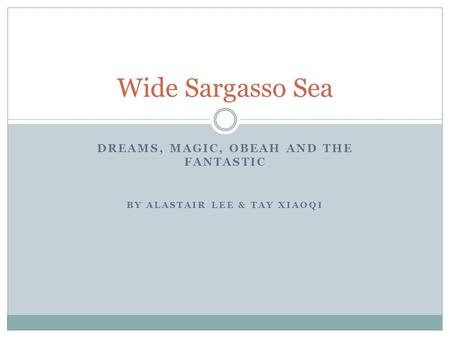 DREAMS, MAGIC, OBEAH AND THE FANTASTIC BY ALASTAIR LEE & TAY XIAOQI Wide Sargasso Sea.