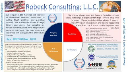 Robeck Consulting owners have consulted and worked in the Corporate environment, Federal, State and Local governments for over 25 years. Typical projects.