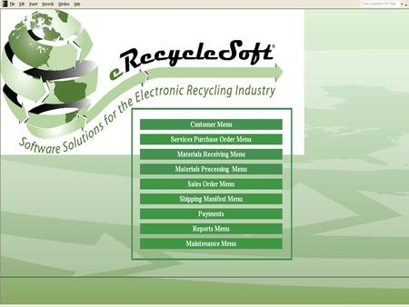 Select the Services Purchase Order Menu Select Add Recycling Services Purchase Order to create a new Services Purchase Order.
