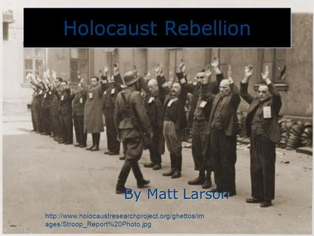 Holocaust Rebellion By Matt Larson  ages/Stroop_Report%20Photo.jpg.