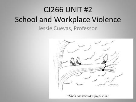 CJ266 UNIT #2 School and Workplace Violence Jessie Cuevas, Professor.