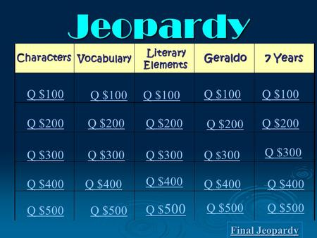 Jeopardy Characters Literary Elements Vocabulary Geraldo Q $100 Q $200 Q $300 Q $400 Q $500 Q $100 Q $200 Q $300 Q $ 300 Q $300 Q $400 Q $500 Q $ 500.