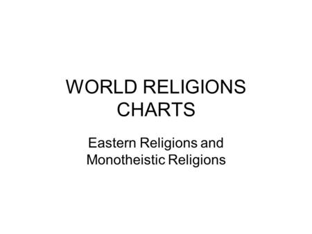 WORLD RELIGIONS CHARTS Eastern Religions and Monotheistic Religions.