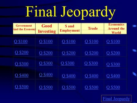 Final Jeopardy Government And the Economy Good Investing $ and Employment Trade Economics Around the World Q $100 Q $200 Q $300 Q $400 Q $500 Q $100 Q.